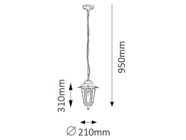 Außenpendelleuchte weiß E27 60 Watt IP43 Velence