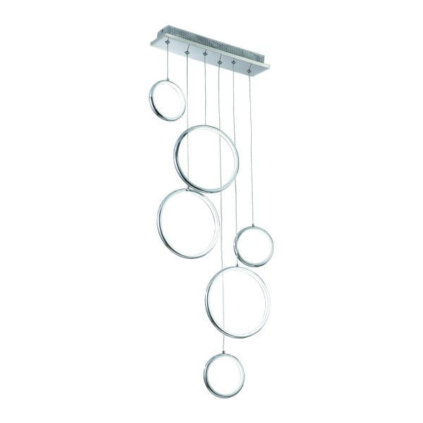 LED Pendelleuchte ANELLO chrom aus Metall/Acryl 500mm