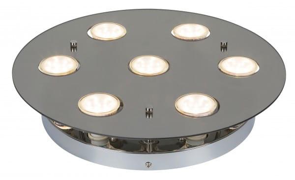 Naomi 7er LED Deckenleuchte rund chrom grau GU10 5W