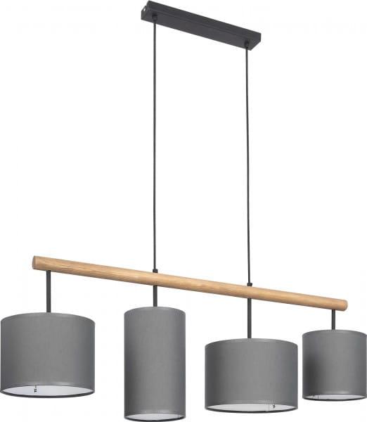 Pendelleuchte DEVA GRAPHITE grau aus Stoff/Holz/Metall