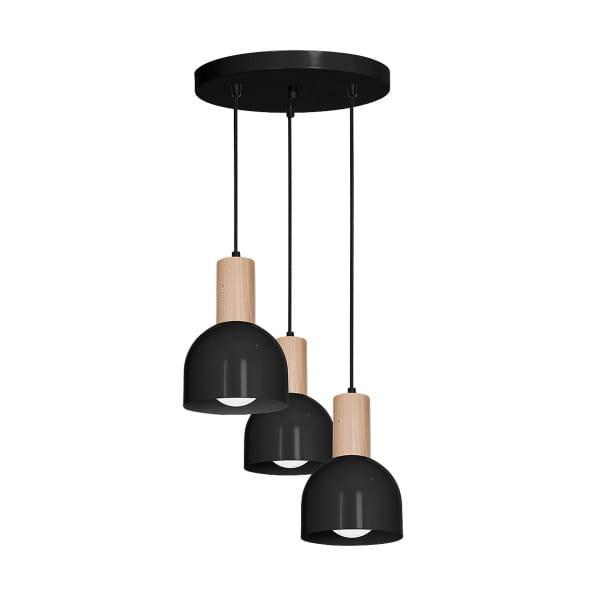 Pendelleuchte DEX BLACK schwarz aus Metall/Holz 40cm