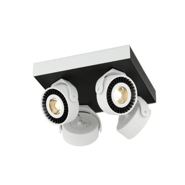 LED Deckenleuchte TECHNO weiß/schwarz aus Stahl quadratisch