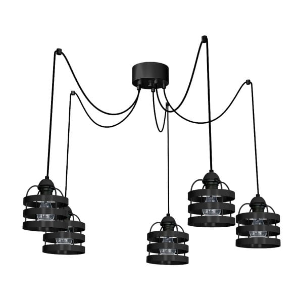 Pendelleuchte Schwarz LARS BLACK 60W E27 5-flammig