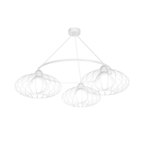 Pendelleuchte KRONOS WHITE weiß aus Metall/Glas rund