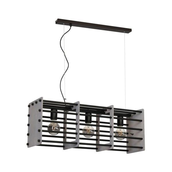 Pendelleuchte THEO grau/schwarz aus Metall/Holz