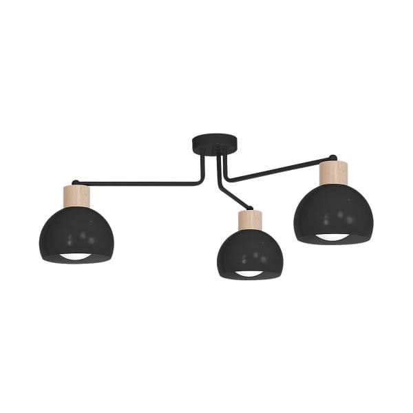 Deckenleuchte natürliches Holz/Schwarz CAPRI BLACK 60W E27 3-flammig