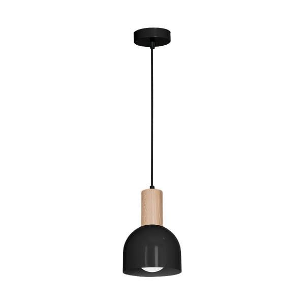 Pendelleuchte natürliches Holz/Schwarz DEX BLACK 60W E27 1-flammig