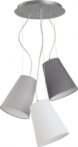 Pendelleuchte weiß und grau aus Textil RETTO E27