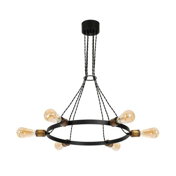 Pendelleuchte Schwarz HOWARD 60W E27 6-flammig