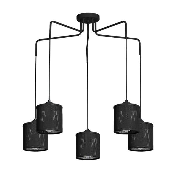 Pendelleuchte Schwarz LOUISE BLACK 60W E27 5-flammig
