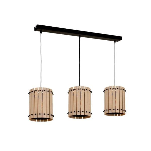 Pendelleuchte EGON schwarz/hellem Holz aus Metall/Holz