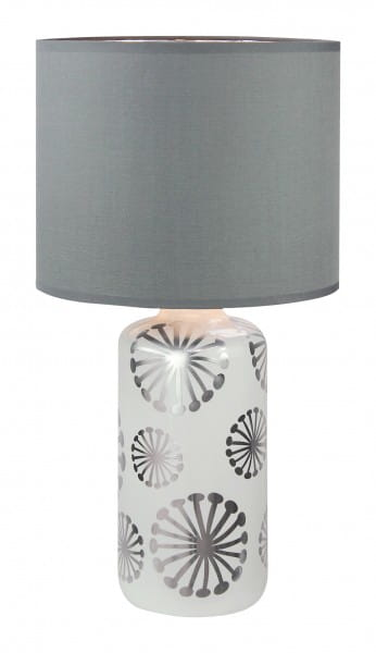 Ginger, Moderne Tischleuchte, Silber-Grau