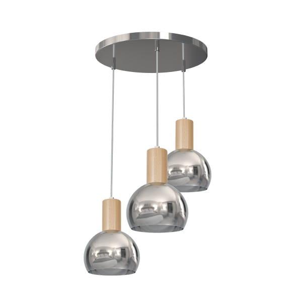 Pendelleuchte OVIEDO chrom aus Metall/Holz 40cm