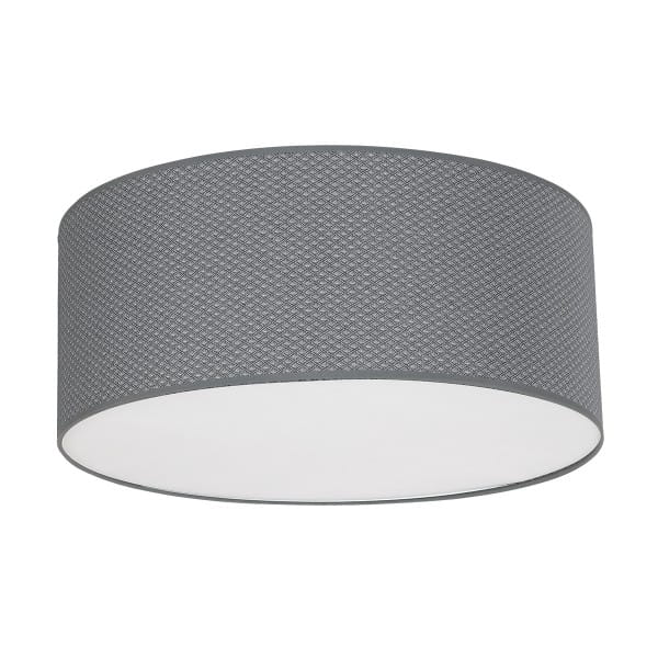 Deckenleuchte BELVEDERE grau aus Metall/Stoff 70cm