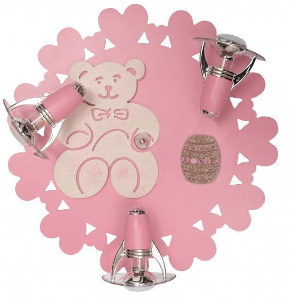 Rosa Kinderleuchte Teddy 3xE14/R50