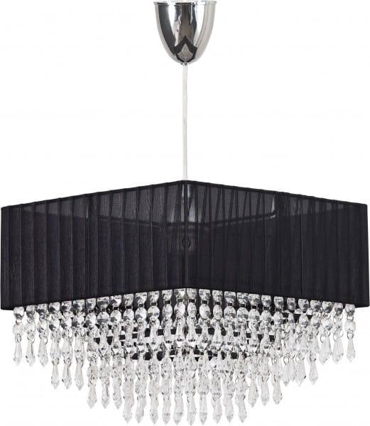 MODENA Pendelleuchte modern Metall/Stoff/Glasbehang schwarz/klar Hängelampe Pendellampe Deckenlampe