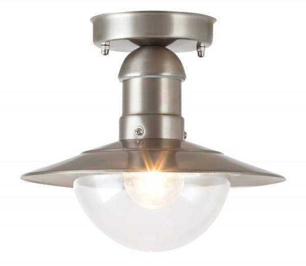 Außendeckenleuchte Satin-Chromfarben Metall E27 60 Watt IP44