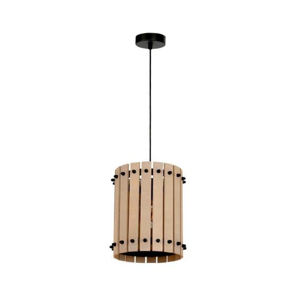 Pendelleuchte natürliches Holz/Schwarz EGON 60W E27 1-flammig