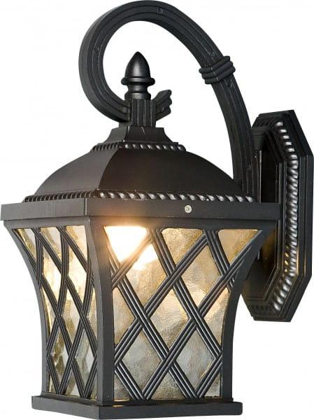 TAY Außenwandleuchte klassisch Aluminium/Glas schwarz/silber Außenlampe Wandlampe E27 60W