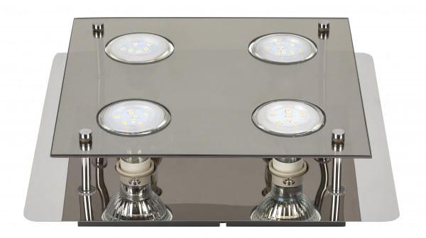 Naomi 4er LED Deckenleuchte eckig chrom grau GU10 5W