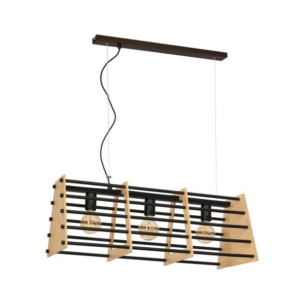 Pendelleuchte SIMON natürliches/schwarz Holz aus Metall/Holz