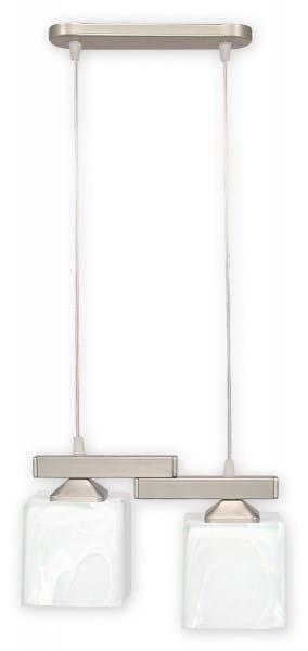 Pendelleuchte Glas alabaster weiß 2 flammig E27 Kostka