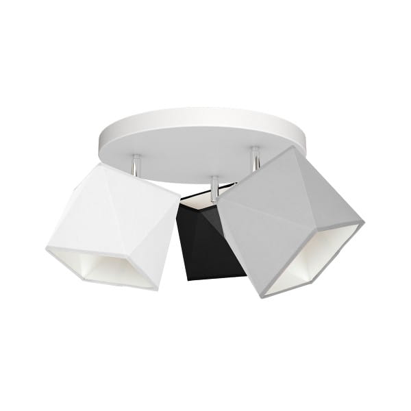 Deckeneuchte FRANK grau/weiß/schwarz aus Metall/Stoff rund