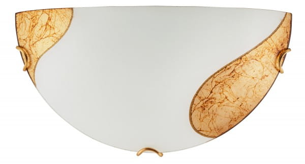 Wandleuchte weiß aus Glas Art gold E27