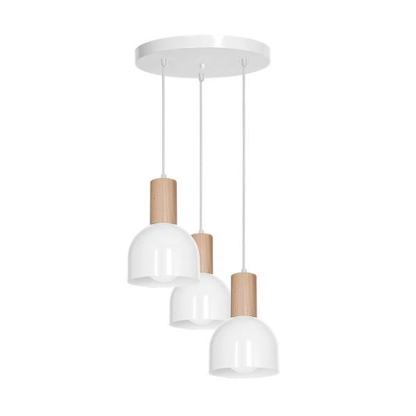 Pendelleuchte DEX WHITE weiß aus Metall/Holz 40cm