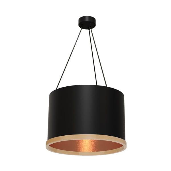 Pendelleuchte OLIVER schwarz/rosé gold aus Metall/Holz 50cm