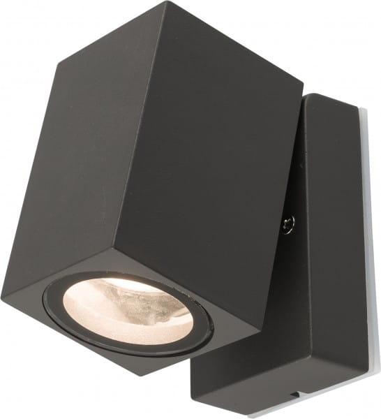 PRIMM Außenwandleuchte modern Aluminium/Glas grau Außenlampe Wandlampe GU10 35W