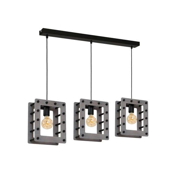 Pendelleuchte THEO schwarz/grau aus Metall/Holz