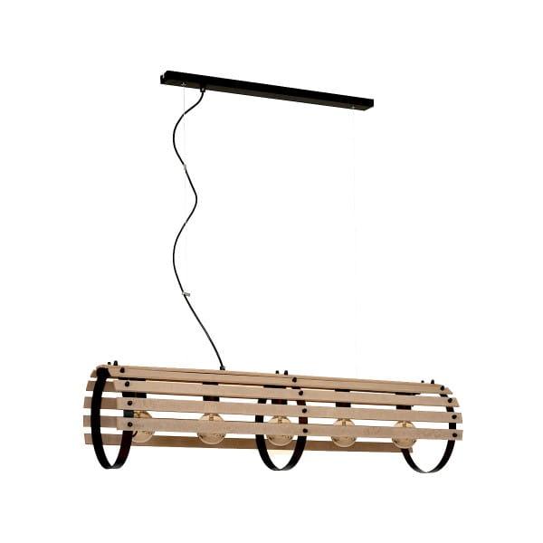 Pendelleuchte natürliches Holz/Schwarz EGON 60W E27 5-flammig
