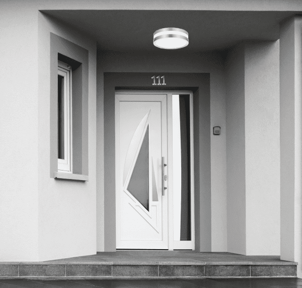 Außendeckenleuchte rund Satin-Chromfarben E 27 11 Watt IP44 Stuttgart