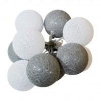 Lichterkette Weiß/Grau 10L Cotton Balls