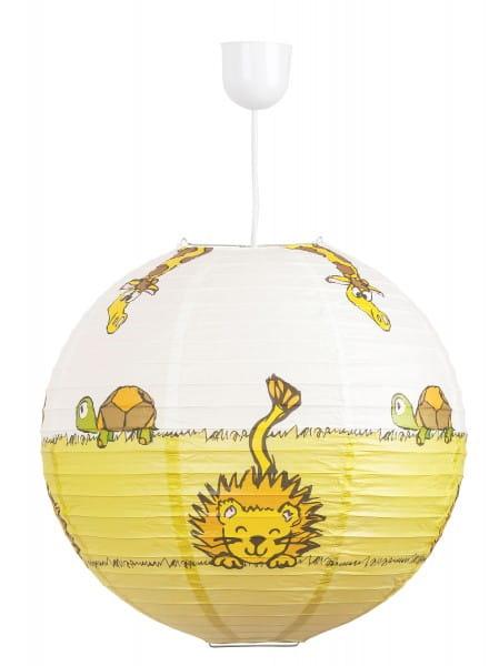 Kinderzimmerlampe Tiere bunt Papierschirm