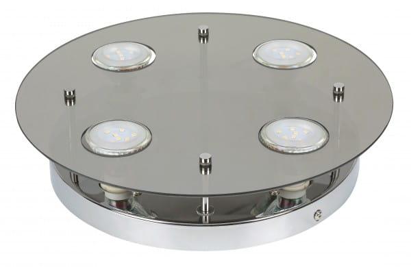 Naomi 4er LED Deckenleuchte rund chrom grau GU10 5W