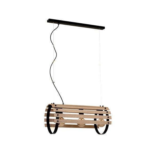 Pendelleuchte EGON hellem Holz/schwarz aus Metall/Holz