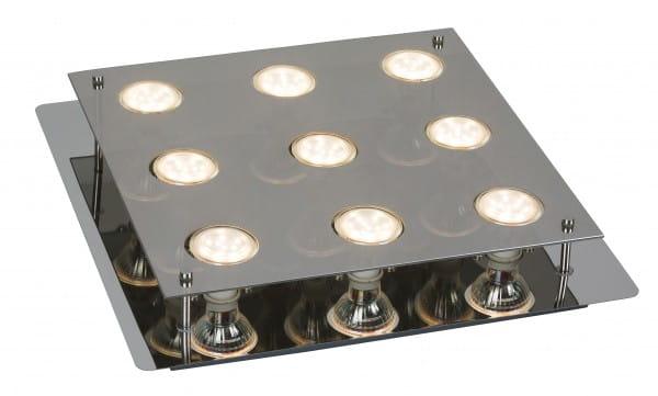 Naomi 9er LED Deckenleuchte eckig chrom grau GU10 5W