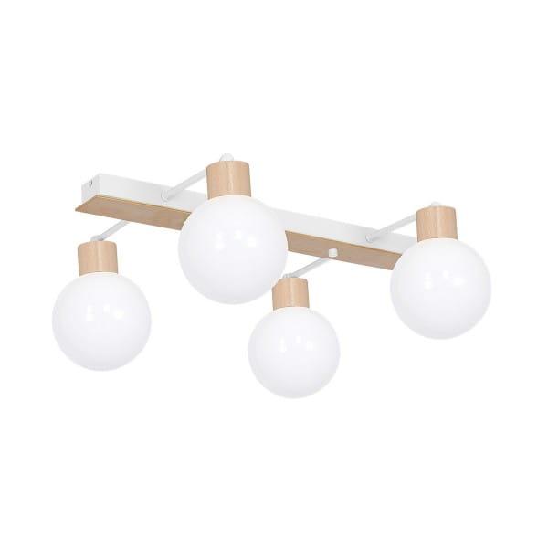 Deckenleuchte natürliches Holz/Weiß BILA WHITE 60W E27 4-flammig